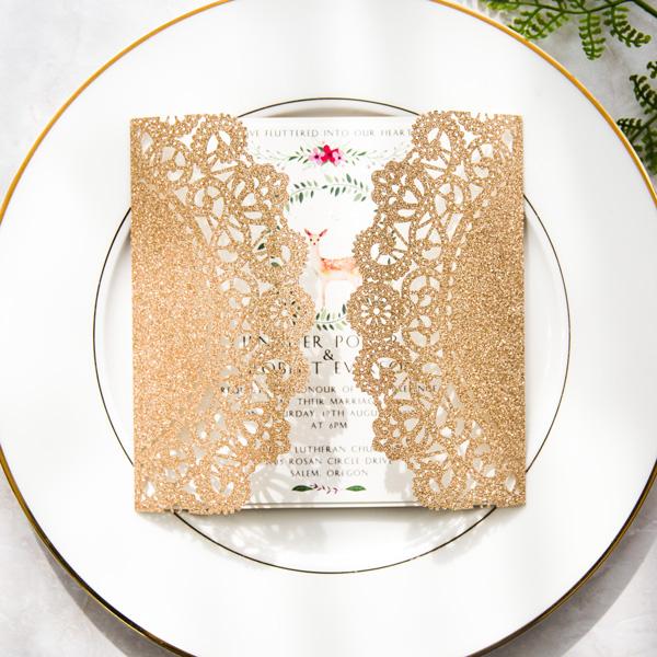 Glitter Rosegold Hochzeit Einladungskarte Hirsch Motive Glk003
