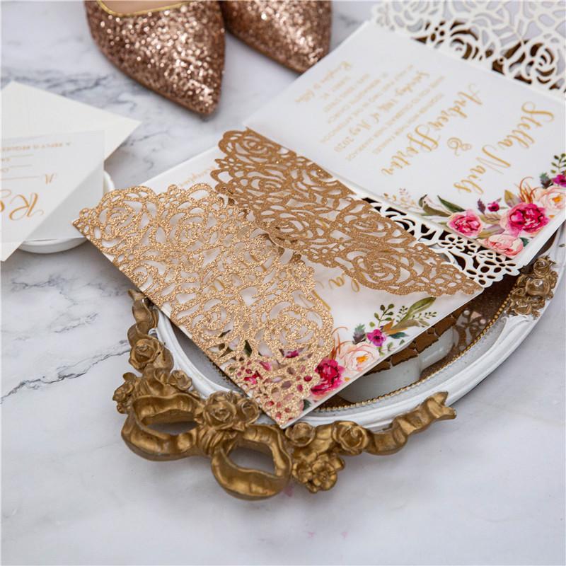 Romantische Rose Thema Einladungskarte Rosegold Papier Glk005