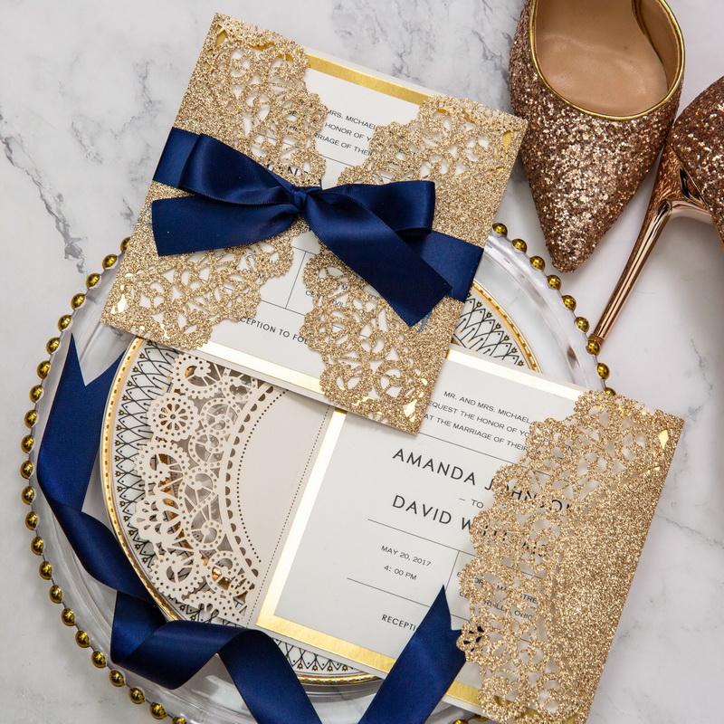 Rosegold Glitter Hochzeitskarte Lasercut Mit Navy Schleife Glk007