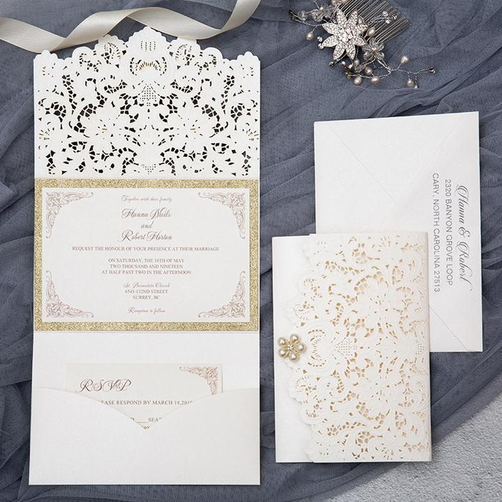 Rustikale Braune Hochzeit Pocket Einladungskarten Im Herbst Spitze