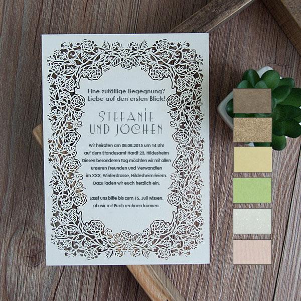 Elegante Laserschnitt Einladungskarte Zur Hochzeit KPL173