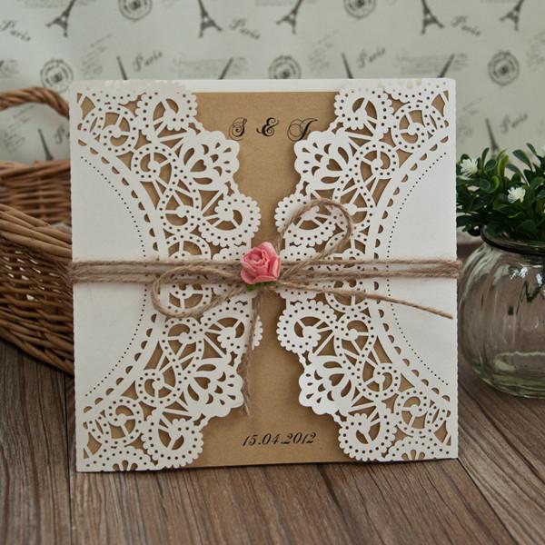 Silber Und Rosa Hochzeit Einladungskarte Mit Spitze Kpl204 Kpl204