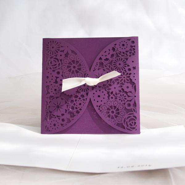 Schön Lila Laser Ausschnitt Blumen Einladungskarte Hochzeit KPL186