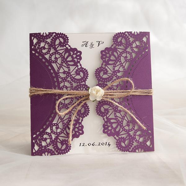 Rustikale Lila Hochzeitskarte Einladung Mit Rose Kpl188 Kpl188