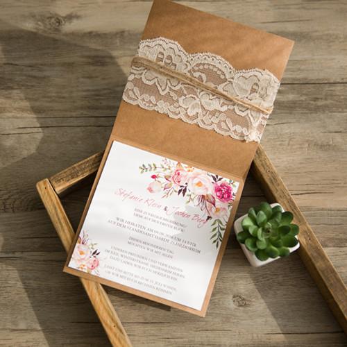 Rustikale hochzeitskarten traumhafte einladungskarten zur hochzeit hochzeitsdekos online - Hochzeitseinladungen mit spitze ...