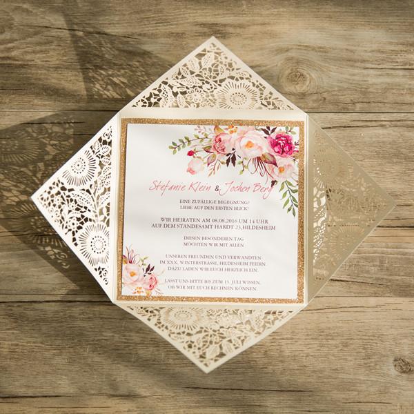 Romantische Glaenzende Spitze Hochzeitseinladung Mit Blumen Kpl207