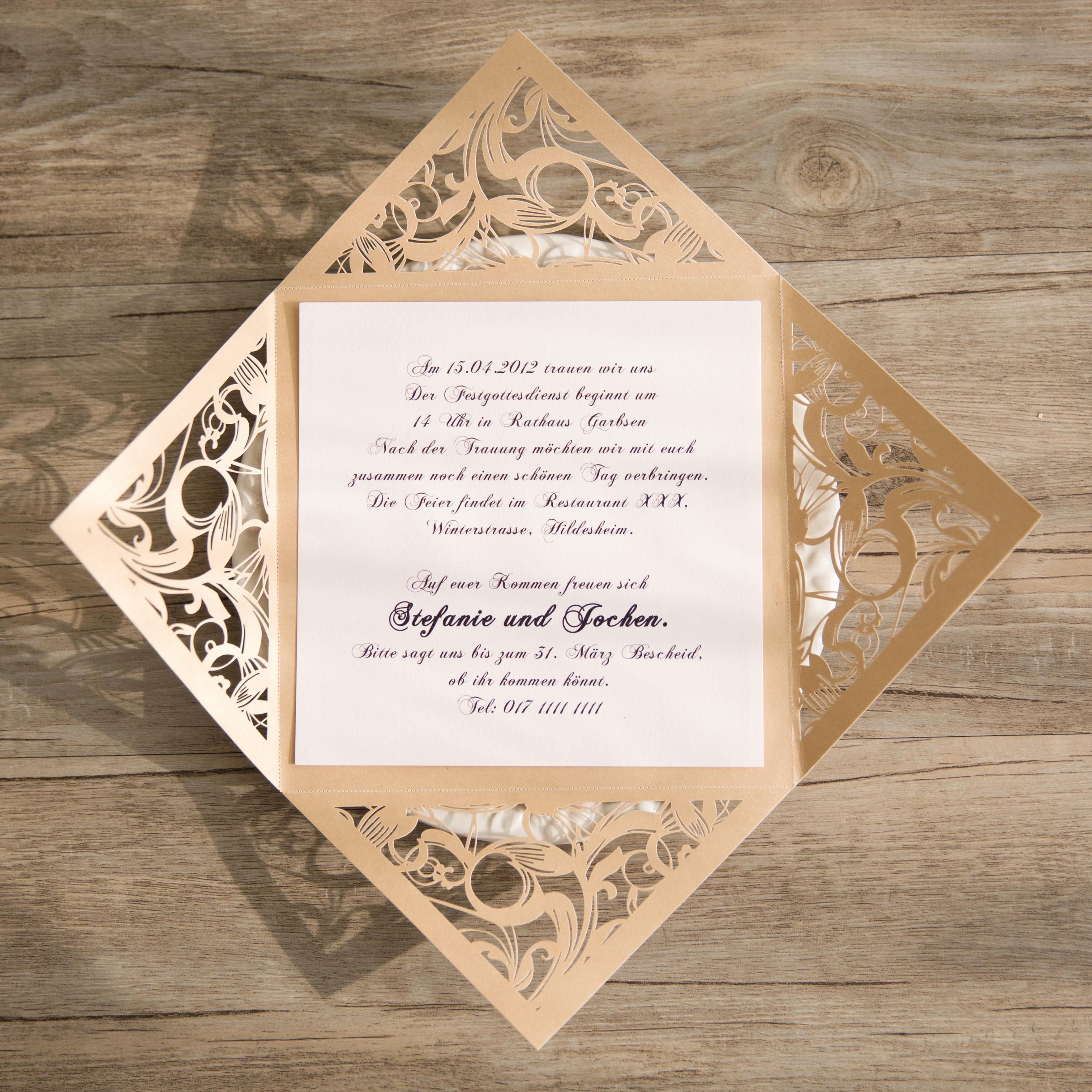 Moderne Goldene Hochzeitseinladungskarte Mit Laser Ausschnitt KPL214