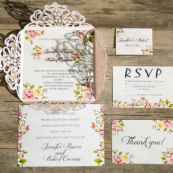 Chic Blush Pink Einladungskarte Zur Bohemian Hochzeit KPL219