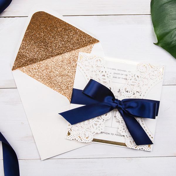 Ivory Spitze Lasercut Hochzeitskarte Rosegold Blaue Schleife Kpl312