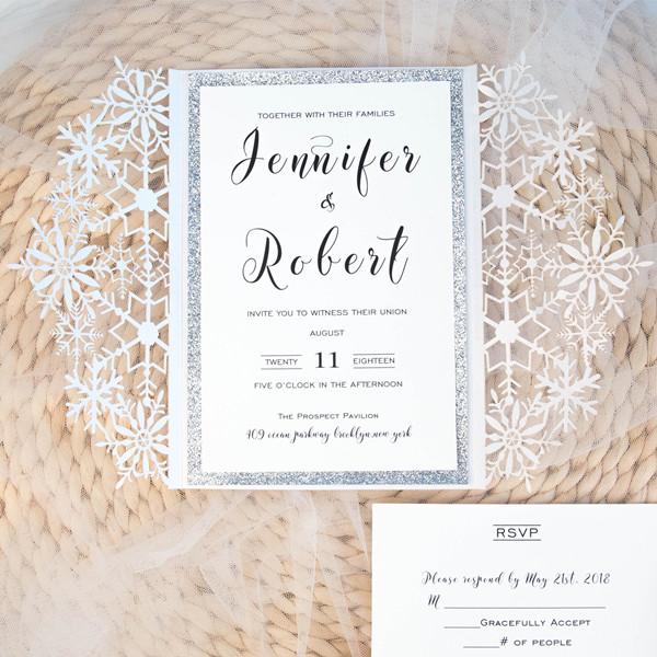Weisse Schneeflocke Winter Hochzeit Einladung KPL313