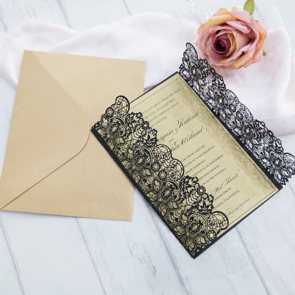 Moderne Schwarze Spitze Motiv Hochzeitskarten Kpl320 Kpl320