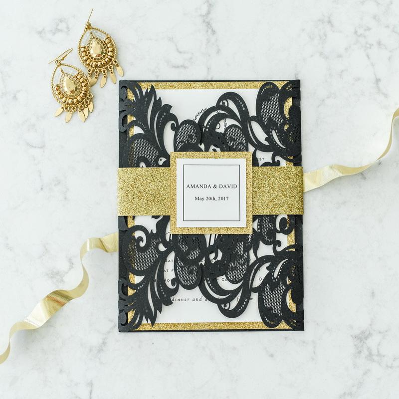 Schwarze Moderne Einladung Rosegold Banderole Hochzeit KPL325