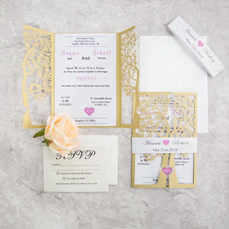 Elegante Baum Herz Laserschnitt Einladungskarte Hochzeit KPL335