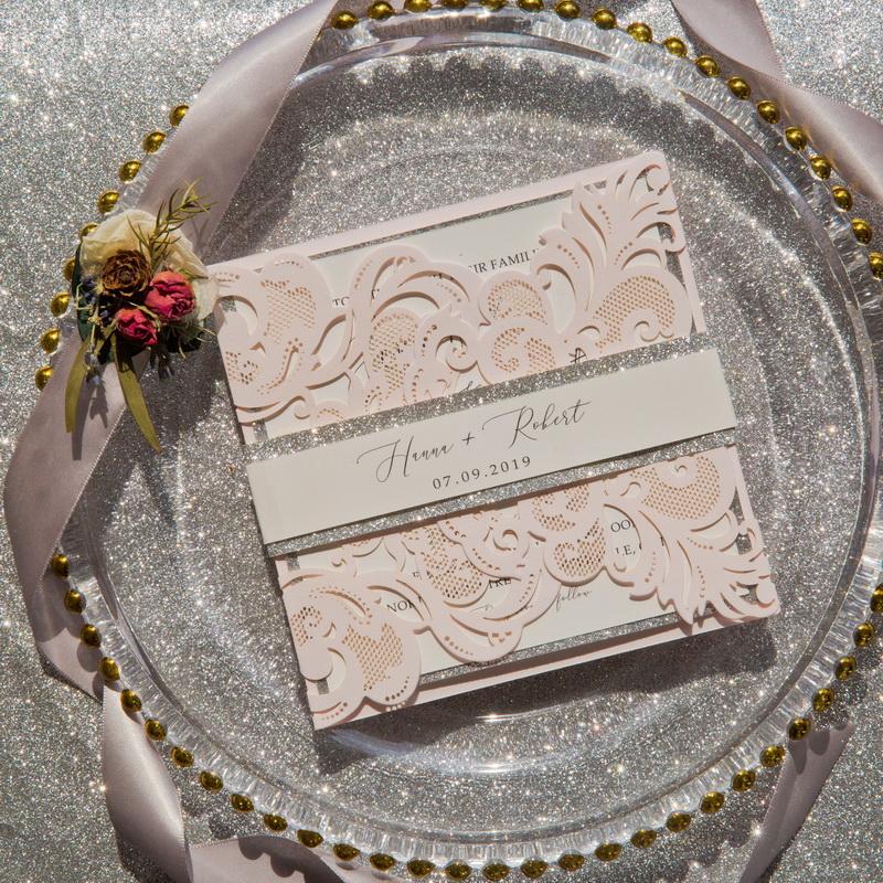Blush Shimmer Einladung Zur Hochzeit Silber KPL339