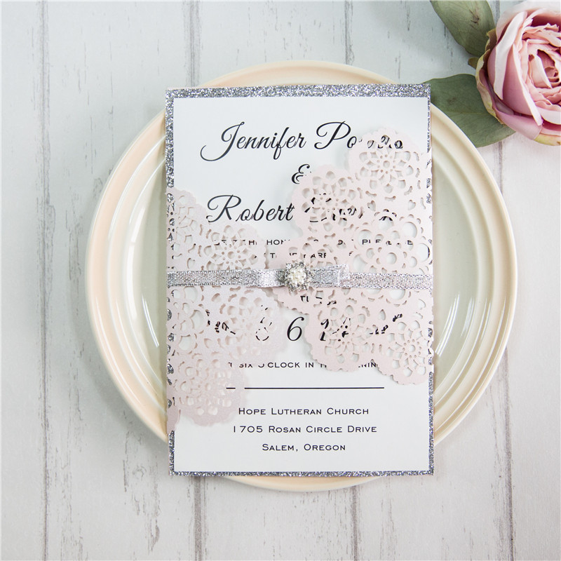 Vintage Blush Blumen Einladungskarten Hochzeit Mit Brosche Kpl340