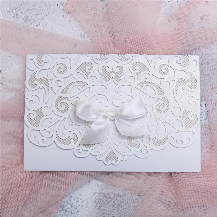 Elegante Weiss Hochzeitskarte Mit Schleife Kpl363 Kpl363 0 00