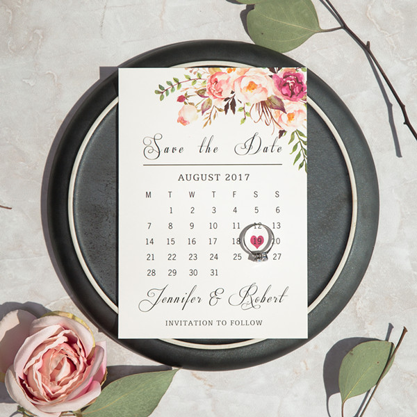 Kreative Blumen Kalender Save the Date Einladung TFL008