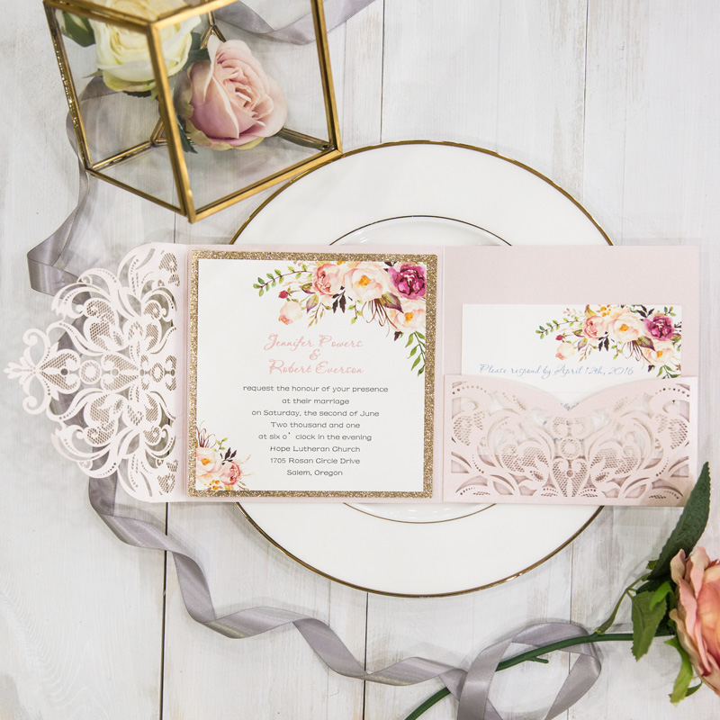 Perfekt Blush Pink Romantische Blumen Trifold Hochzeitskarte Glitzer Rosegold TPI024