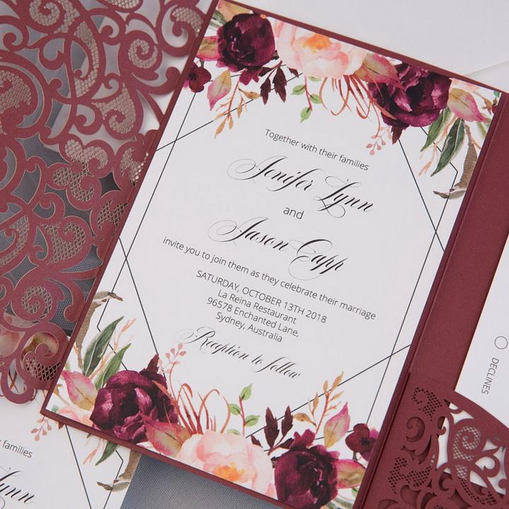 Florale Burgundy Herbst Lasercut Pocketfold Hochzeitskarte Tpi032