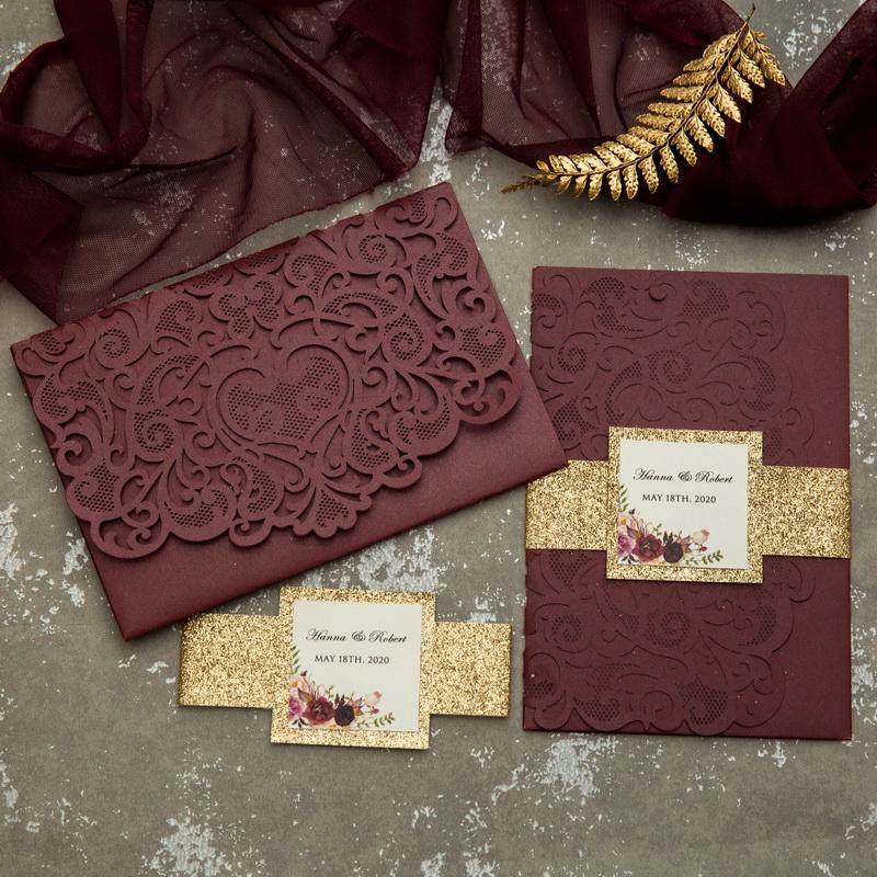 Burgundy Weinrot Gold Pocketfold Einladungen Hochzeit