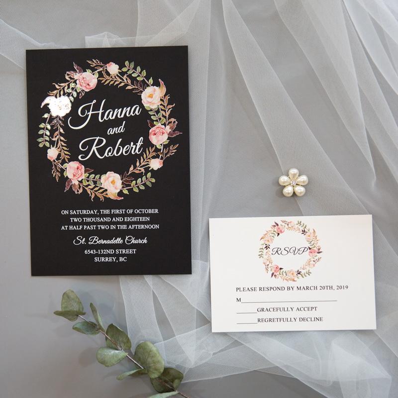 Florale Blumen Uv Druck Hochzeitskarten Weisse Schriften Schwarz