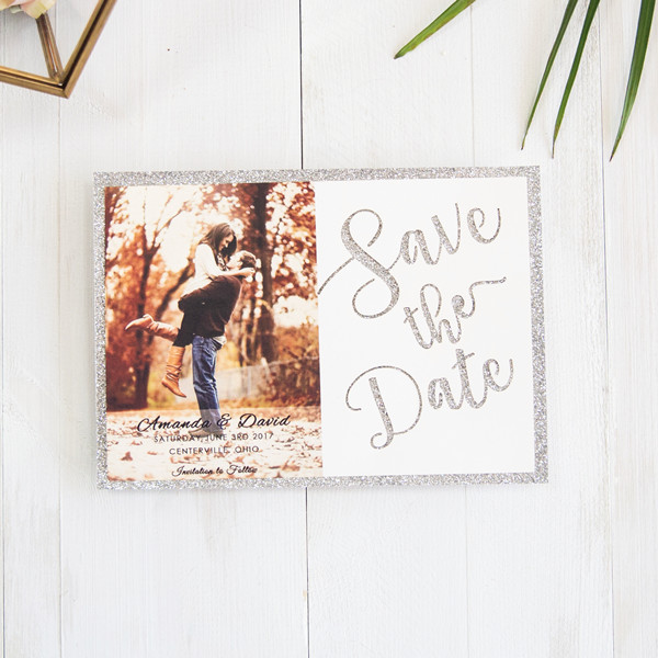 Silberne Save the Date Lasercut Karte TFL003