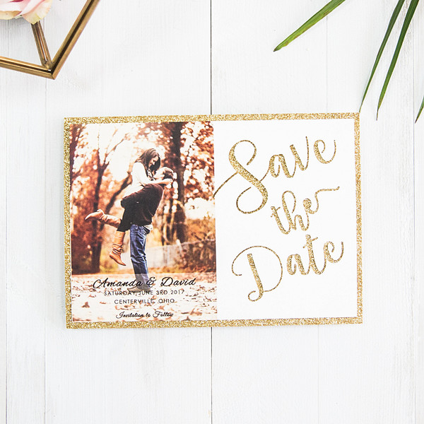 Goldene Save the Date Lasercut Karte TFL005